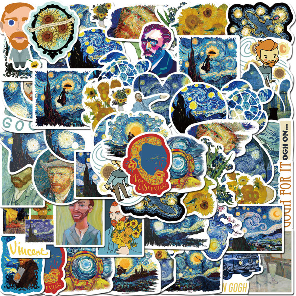 40 pieces of Van Gogh works sunflower oil painting graffiti stickers luggage laptop guitar waterproof stickers