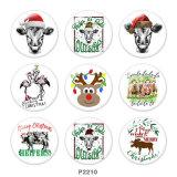 20MM  Christmas  Deer   cattle   Print   glass  snaps buttons