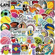 50 мячей, спортивная коллекция, наклейки, персонализированные украшения, багажный блокнот, водонепроницаемые, съемные, клеевые, неповторяющиеся наклейки
