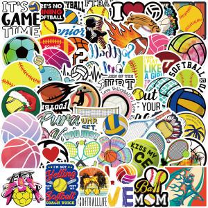 50 pegatinas de colección de deportes de pelota, decoración personalizada, cuaderno de equipaje, pegamento extraíble impermeable, pegatinas no repetitivas