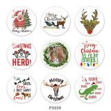 20MM  Christmas  Deer  Horse  pig  Print   glass  snaps buttons