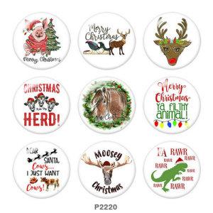 20 мм Рождественский олень, лошадь, свинья, принт, стеклянные кнопки