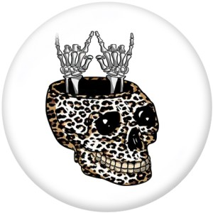 20MM Halloween crâne Owl Print boutons pressions en verre