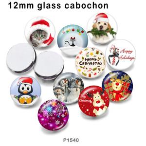 10 pcs/lot produits d'impression d'image en verre de chien de chat de noël de différentes tailles cabochon d'aimant de réfrigérateur