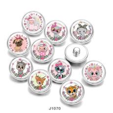 20MM  Cat  Elephant  sheep  Dog  Patriots  Print   glass  snaps buttons