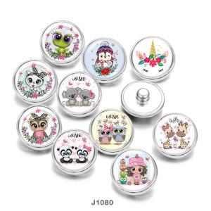 20MM Licorne Hibou Grenouille Chat Patriotes Imprimer boutons pressions en verre