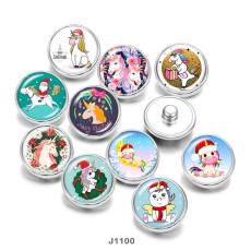 20MM  Christmas  Unicorn  Print   glass  snaps buttons