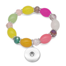 1 пуговица с застежкой-кристаллом, эластичный браслет, подходит для ювелирных изделий с кнопками 18 и 20 мм