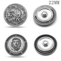 20MM Gun black peace skull design metal silver plated snap charms