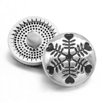 20MM Christmas snowflakes  design metal silver plated snap charms