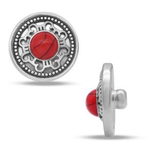 Металлические посеребренные брелки с кнопками, 20 мм, красный бирюзовый дизайн