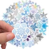 50 Christmas decoration glass snowflake pattern stickers laptop suitcase ipad waterproof stickers