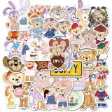 40 dessin animé mignon ours et dessin animé lapin ours graffiti autocollants valise ordinateur portable autocollants étanches