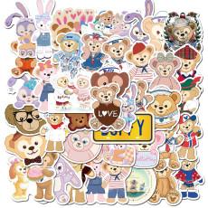 40 мультфильм милый медведь и мультфильм кролик медведь граффити наклейки чемодан ноутбук водонепроницаемые наклейки