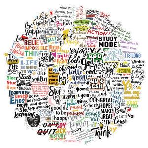 100 вдохновляющих девизов для изучения английского языка граффити наклейки декоративные чемоданы водонепроницаемые, не оставляя клеевых наклеек