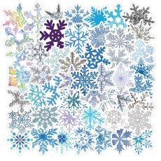50 рождественских украшений, стеклянные наклейки со снежинками, чемодан для ноутбука, водонепроницаемые наклейки для ipad
