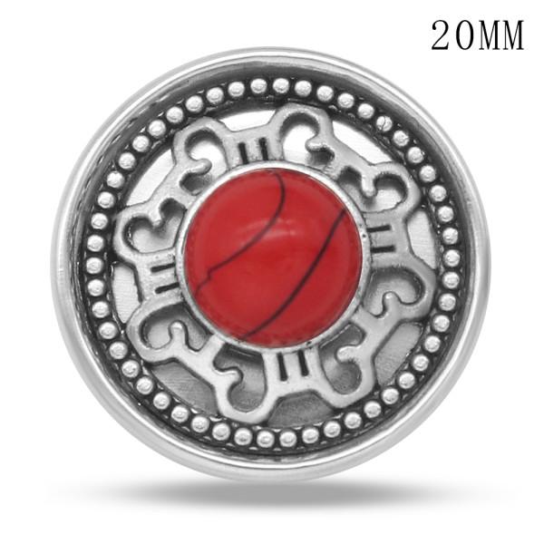 Breloques pression en métal argenté avec motif turquoise rouge 20MM