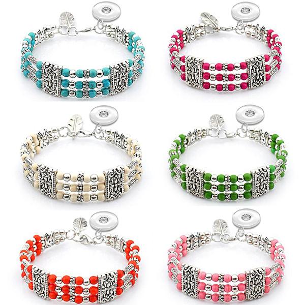 17CM Steel wire turquoise beaded bracelet boho style fit18&20MM  snaps jewelry