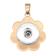 Stainless steel flower pendant fit snaps jewelry