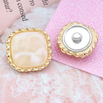 20mm golden metal square high-grade resin charms fit 20mm snap jewelry