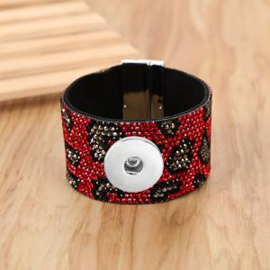 Bracelet magnétique à imprimé léopard en diamant fit18 & 20MM snaps bijoux