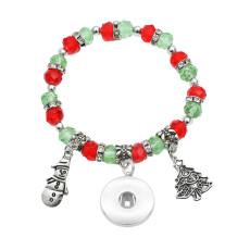 Рождественский браслет Кристалл из бисера Браслет с рождественской елкой fit18 и 20 мм защелкивающиеся украшения