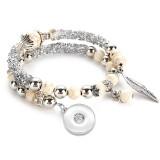 Bracelet en perles turquoise en fil d'acier 17CM style bohème fit18 & 20MM snaps bijoux