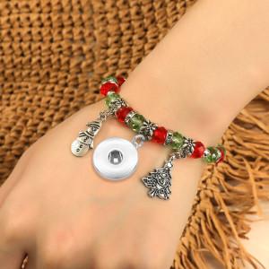 Christmas Bracelet Crystal Beaded Christmas Tree Bracelet fit18&20MM  snaps jewelry
