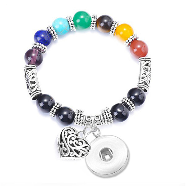 Colorful Yoga Energy Tiger Eye Stone Beaded Peach Heart Pendant Bracelet fit18&20MM  snaps jewelry