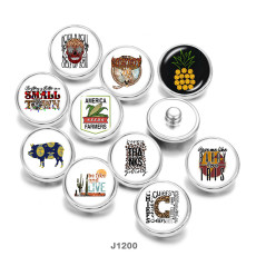 20MM  pig  skull  words   Print   glass  snaps buttons