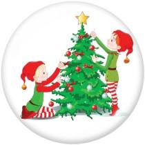 20MM  Christmas  Snowman  Print   glass  snaps buttons