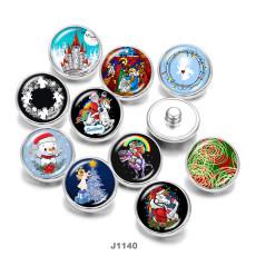 20MM  Christmas  Snowman  Santa Claus  Print   glass  snaps buttons