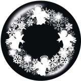20MM Noël Bonhomme de neige Père Noël Imprimé boutons pressions en verre