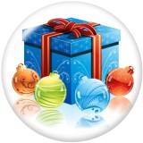 Boutons pressions en verre imprimé bonhomme de neige de Noël 20MM