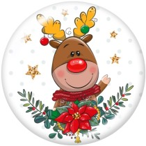 20MM  Christmas  Cat  Deer  Print   glass  snaps buttons