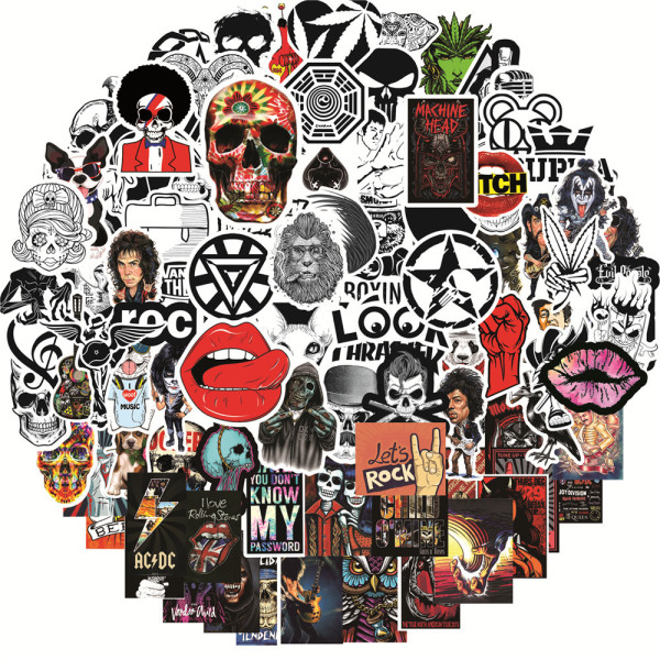 100 mix and match Rock and Roll graffiti stickers notebook water guitar trolley case waterproof stickers