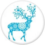 Boutons pressions en verre imprimé cerf de Noël lapin de Noël 20MM