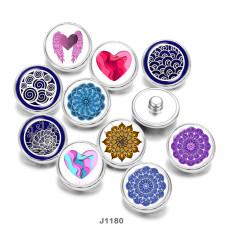 20MM  Love  mandala  Print   glass  snaps buttons