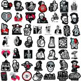 50 black and red skull love inspirational graffiti stickers skateboard computer water cup trolley case custom waterproof stickers