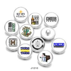 20MM  words  USA  Flag  Print   glass  snaps buttons