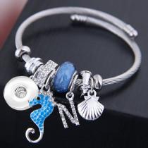 Stainless steel open seahorse shell crystal tassel bracelet fit snaps jewelry