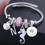 Bracelet en cristal de gland de coquille d'hippocampe ouvert d'acier inoxydable s'adapte à des bijoux de boutons-pression