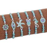 Синий браслет ручной работы, подвеска-руль для исследования морской звезды, морской конек, сова, регулируемый восковой браслет