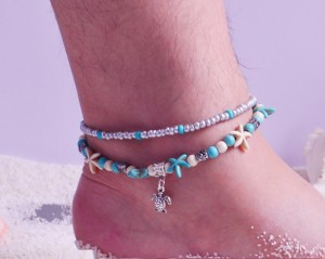 17CM + 5CM Schildkröte Fußkettchen Muschel Reis Zhu Haixing Seepferdchen Retro Yoga Sand Kette Damen Fußkettchen Armband