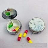 50MM runde Medizinbox aus Metall mit drei Gittern