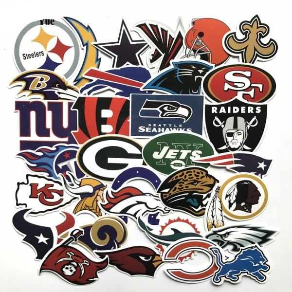 32 Logos de l'équipe de la Ligue de rugby NFL Autocollants de valise de valise de la Ligue américaine Autocollants de voiture