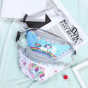 28*15cm Unicorn Waist Bag Student Cartoon Sequin Sports Shoulder Bag Mermaid Fashion Cosmetic Bag Waist Bag