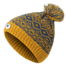 Autumn and winter new fur ball knitted hat to keep warm and thicken for riding fit 18mm snap button