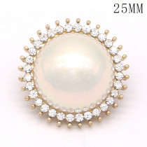 20MM High quality metal pearl  gold plated snap charms fit 20mm snap jewelry