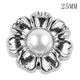 25 мм высокое качество металлический жемчуг солнечный цветок посеребренный позолоченный шармы с кнопками подходят 20 мм ювелирные изделия с кнопками